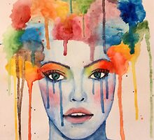 Abstract Clown Girl Painting by artbyhiba