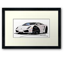 Lamborghini LP560/4 Pearl White [BLK] Framed Print