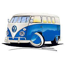 VW Splitty (11 Window) Blue Photographic Print