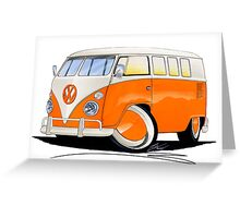 VW Splitty (11 Window) Orange Greeting Card