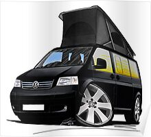 VW T5 California Camper Van Black Poster