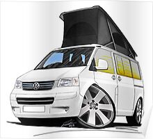 VW T5 California Camper Van White Poster