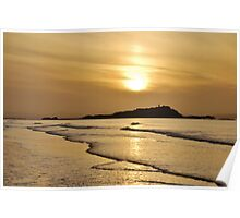 Yellow Craigs, East Lothian sunset showing Fidra Lighthouse and Island in the Firth of Forth Poster