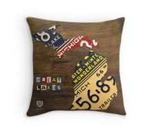 Michigan License Plate Map Throw Pillow