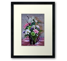 Morning Fresh Coffee and Flowers Framed Print