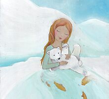 Girl loves baby Polar Bear by Helga McLeod