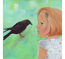 Girl and Raven: a love story Photographic Print