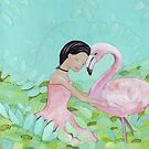 Best friends, Girl and Flamingo by Helga McLeod