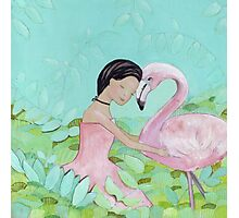 Best friends, Girl and Flamingo Photographic Print