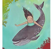 Girl and Whale, swimming together Photographic Print