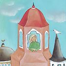 Girl and bird in the Old City, originally acrylic by Helga McLeod