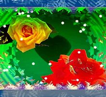 Roses with blue frame design by ♥⊱ B. Randi Bailey