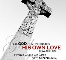 Romans 5:8 Celtic Cross Cemetery Headstone by FathersWorld