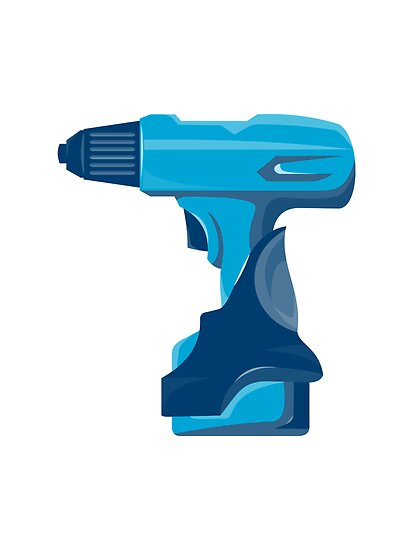 cordless drill side view retro by retrovectors