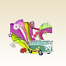 70's Van with Foulli and Gerbera in White by Barbora  Urbankova