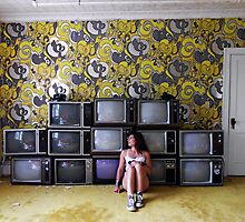 Self Portrait- Abandoned Hotel, TV room by MJD Photography  Portraits and Abandoned Ruins