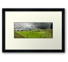 Golfers at the golf course Framed Print