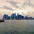Panoramic view of South Manhattan at Sunset by mattiaterrando