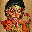 zombie eating bacon cat by byronrempel