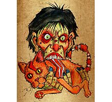 zombie eating bacon cat Photographic Print