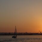 San Diego California Sunset Ocean Sailboat by HQPhotos
