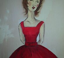 Girl in A Red Dress Vintage Style by Meaghan Louise