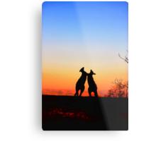 Sunset Serenade Pair of Kangaroos Australian Icon Metal Print