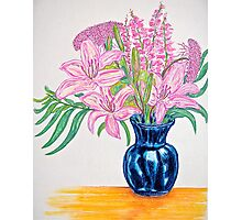Pink Stargazers in a Blue Vase Photographic Print