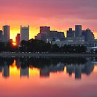 Boston Skyline Aglow by Kamalyn