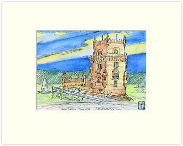 Belm Tower skecth on canvas by tereza del pilar