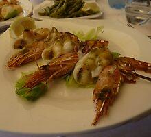 Squid and Prawn Kebab by LindyLouMac