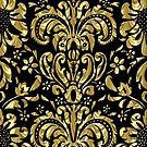 Black And Gold Tones Floral Damasks Pattern by artonwear