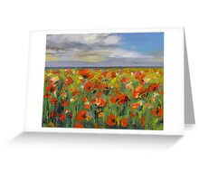 Poppy Field with Storm Clouds Greeting Card