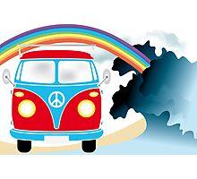 VW T1 van on the beach under rainbow Photographic Print