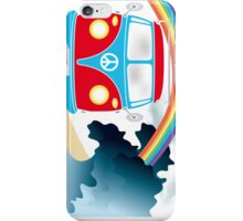 VW T1 van on the beach under rainbow iPhone Case/Skin