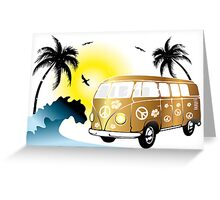 VW T1 on the beach Greeting Card
