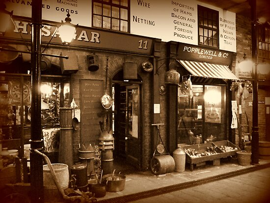 Victorian Street Scene in Sepia by Colin Metcalf
