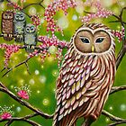Garden of Owls - greeting card by Emi Nakamura