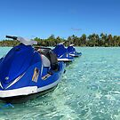 Jet skis in Bora Bora lagoon by CreativeUrge