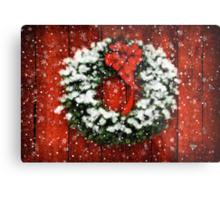 Snowy Christmas Wreath Metal Print
