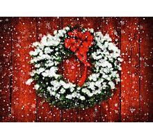 Snowy Christmas Wreath Photographic Print