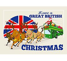Great British Christmas Santa Reindeer Doube Decker Bus Photographic Print