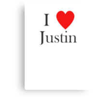 i love justin heart Canvas Print