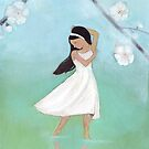 Dancing girl with blossoms and reflections by Helga McLeod