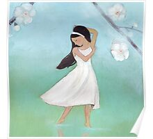 Dancing girl with blossoms and reflections Poster