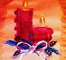 #1 Christmas card ,red candles,  watercolor by Anna  Lewis