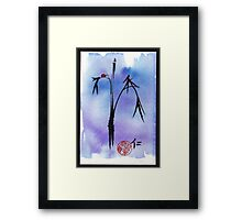 """Kindness"" - watercolor & ink brush pen mixed media painting ladybug & bamboo Framed Print"