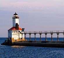Michigan City, Indiana Light at Dawn by Kenneth Keifer