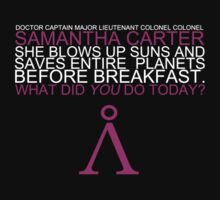 She blows up suns and saves entire planets before breakfast. (Clothes/pink design)) by angiesdesigns
