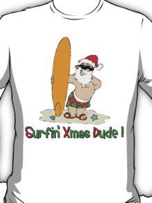 "Funny Christmas T-Shirt ""Surfing Santa Claus""  T-Shirt"